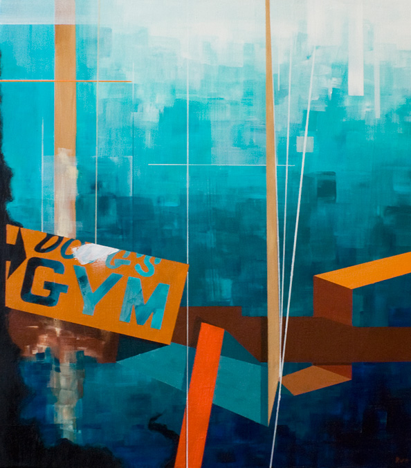 "CALISTHENICS 1962 21""x24"". ACRYLIC ON CANVAS (SOLD - COMMISSION)"