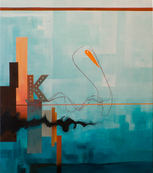 """DOWNTOWN K 21""""x24"""". ACRYLIC ON CANVAS (SOLD - COMMISSION)"""
