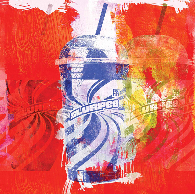 "15 MINUTES OF SLURPEE (IN THE STYLE OF ANDY WARHOL) 21""x21"". DIGITAL PAINTING (SOLD - COMMISSION)"