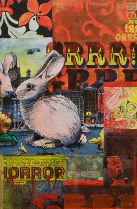 "GRRR! THE PINK FUZZY BUNNY AND LIBERATION BRIGADE 12""x18"". ACRYLIC, PEN & INK & PAPER COLLAGE ON WOOD (SOLD)"