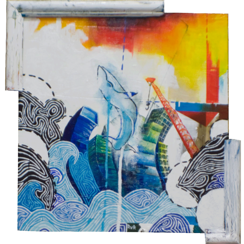 "A CITY BY THE SEA 13.5""x13.5"". ACRYLIC PAINT & PAPER COLLAGE ON WOOD (SOLD)"