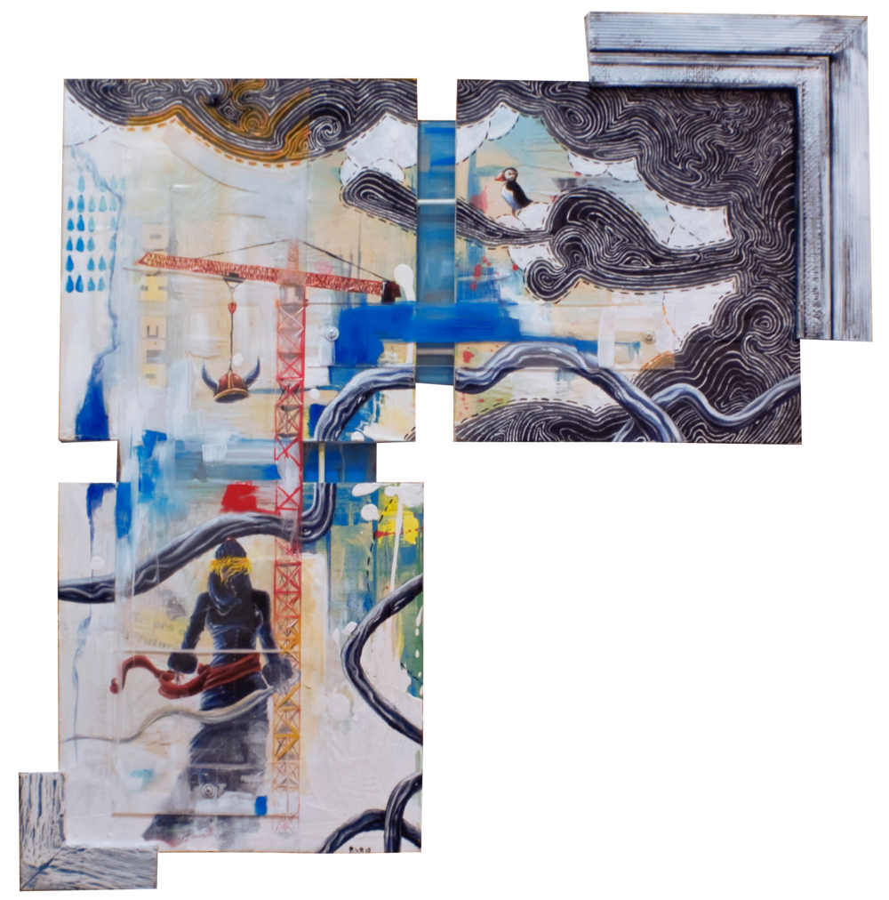 "ASSEMBLING THE FUTURE FROM THE PAST 27.5""x29"". ACRYLIC PAINT,  PAPER COLLAGE & PLEXI ON WOOD (SOLD)"