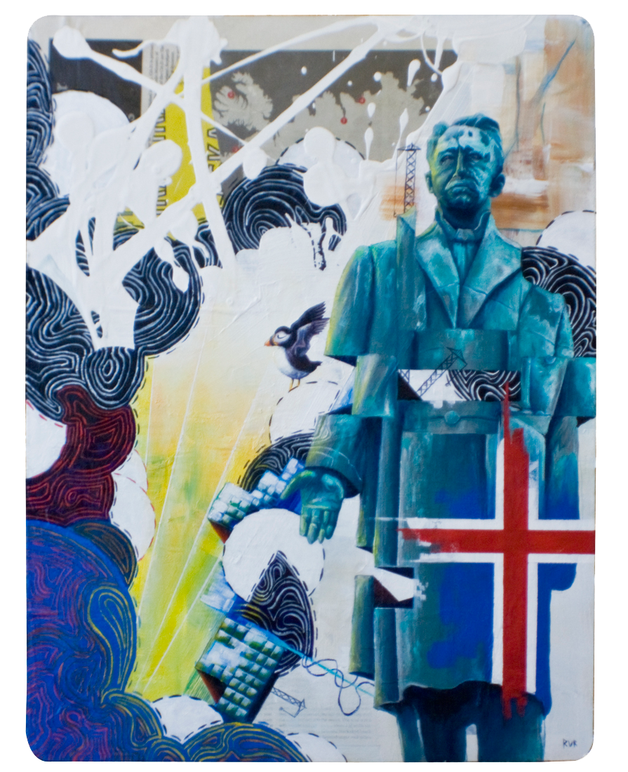 """HANNES ÞóRðUR PÉTURSSON HAFSTEIN 14.5""""x19.25"""". ACRYLIC PAINT & PAPER COLLAGE ON WOOD"""