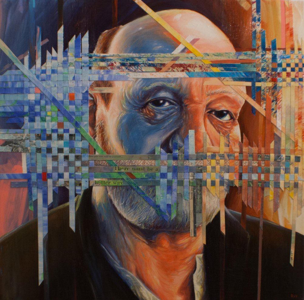 HE SAW THROUGH THE INTERFERENCE {PAPER WEAVE COLLAGE OVERLAY BY LAUREN VON ROSENBERG} (SOLD)