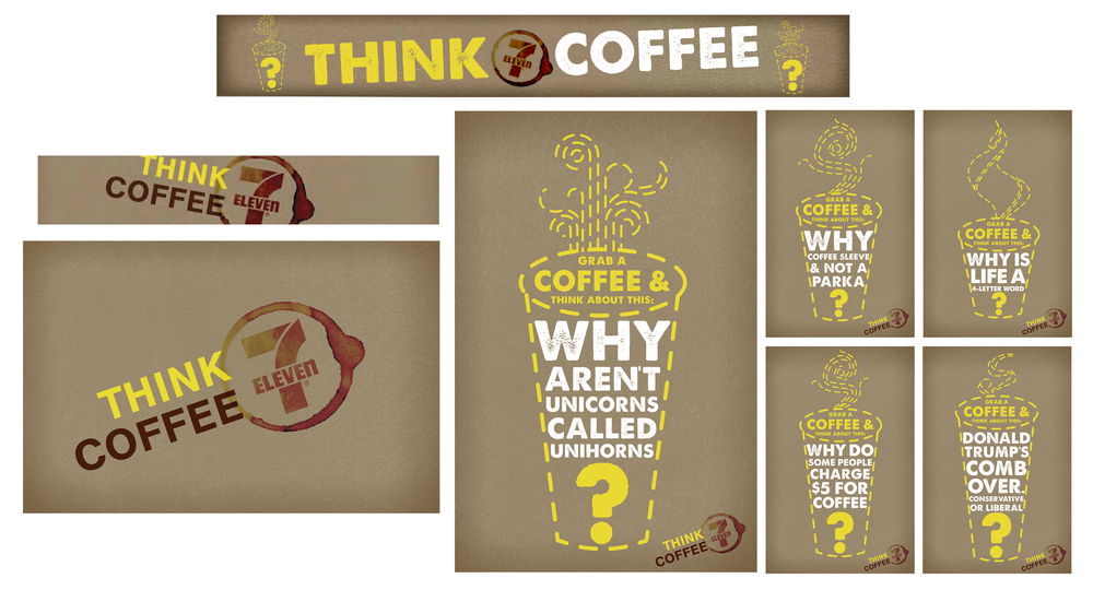 THINK COFFEE PROMOTION STORE FRONT BANNET, LOGO, COFFEE ISLAND SIGN AND WINDOW POSTERS (CONCEPT)
