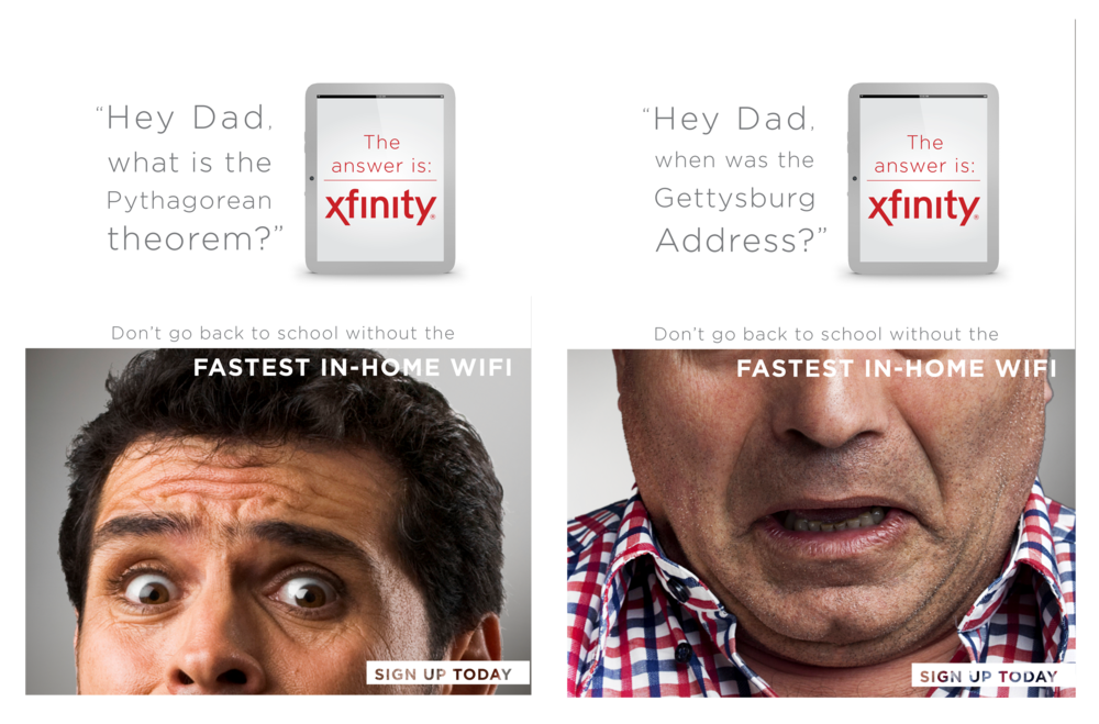 COMCAST BACK TO SCHOOL PROMOTION WINDOW POSTERS (CONCEPT)