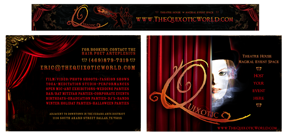 QUIXOTIC WORLD EVENT SPACE PROMOTIONAL FLYERS AND EVENT SPACE BANNER