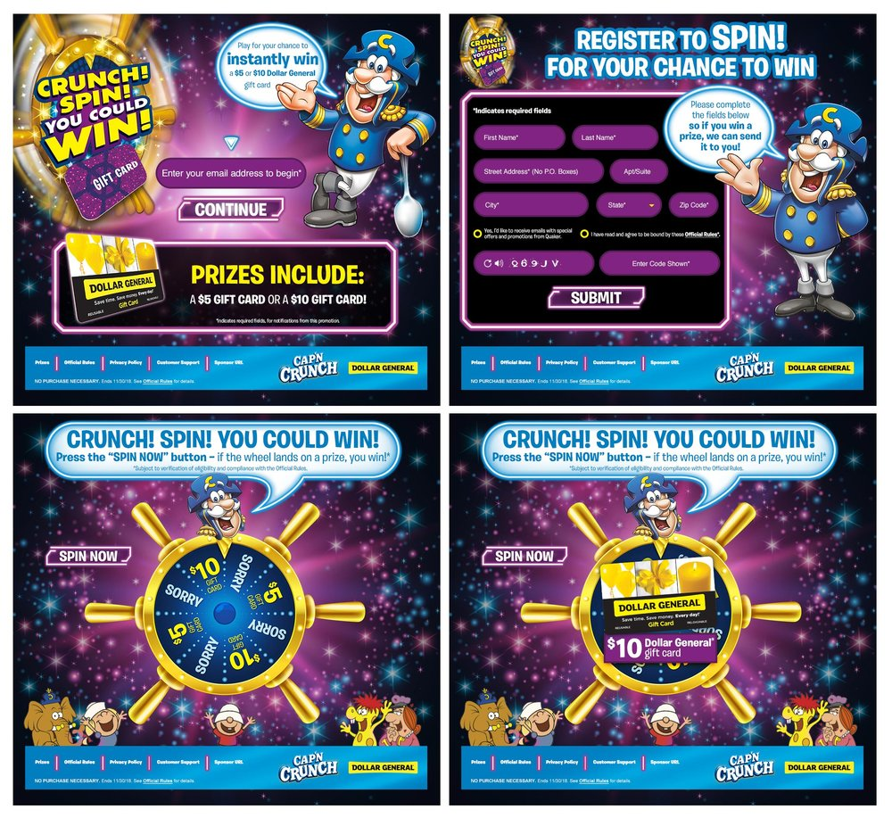 CAP'N CRUNCH SPIN TO WIN DESKTOP MICROSITE