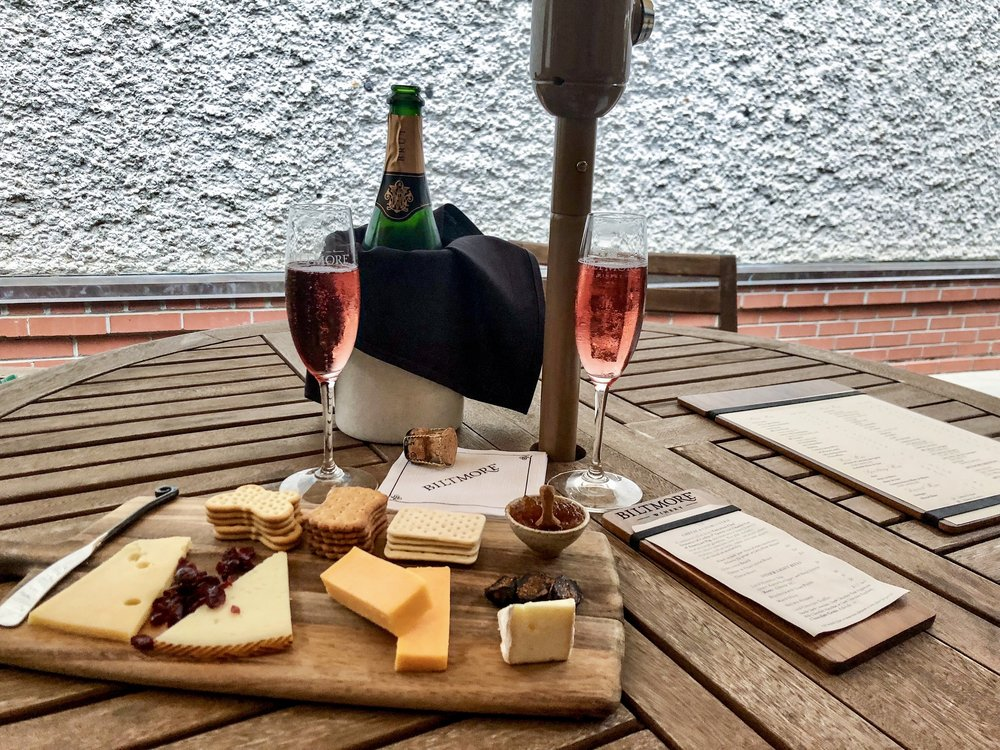 Wine and cheese plate from Antler Hill Village at Biltmore