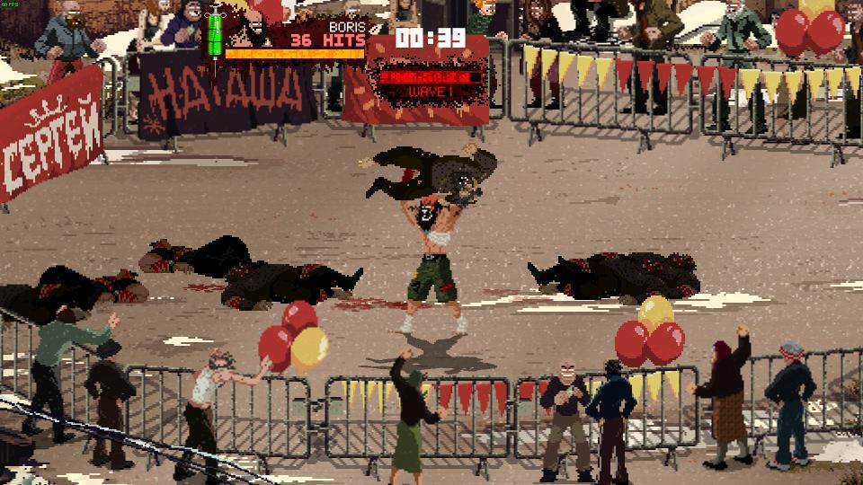 Boris, one of the playable characters, in the middle of doing a back breaker.