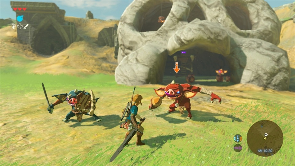 Link in combat, where both he and his enemies find different ways to take out the other.