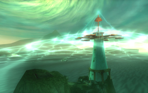 The lighthouse that you start the game on emitting the defensive shield.