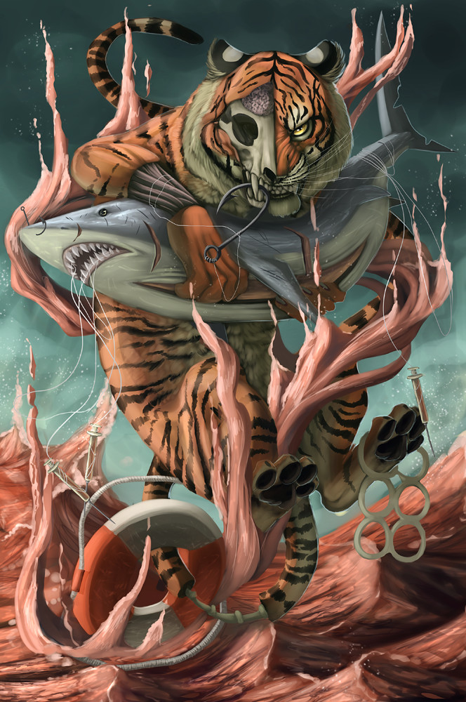 Funny, because I also have a half-skeletal tiger pet who also likes to hold sharks.