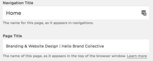 Title Tag Description example for Squarespace SEO Tips by Hello Brand Collective