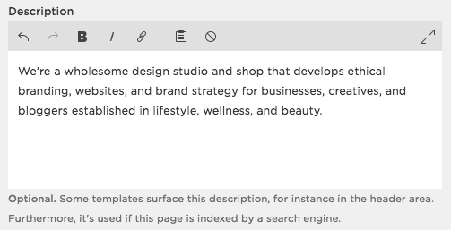 Meta Tag Description example for Squarespace SEO Tips by Hello Brand Collective
