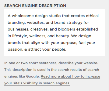 Search Engine Description example for Squarespace SEO Tips by Hello Brand Collective