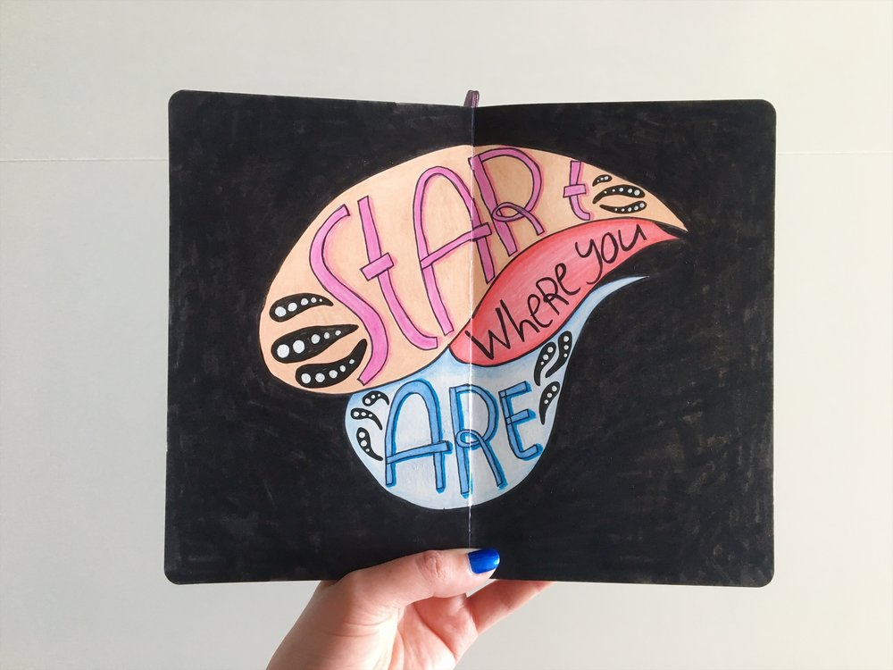 Start where you are. Start over. Just start! From the sketchbook of Jess Couture