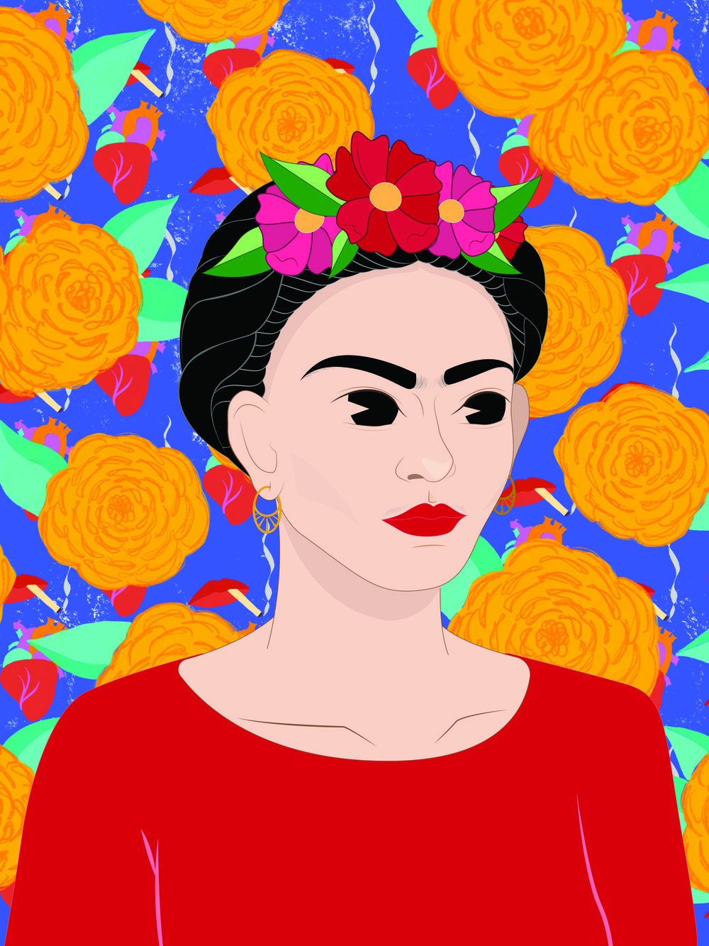 Portrait of Frida Kahlo - a collaboration between Ash Menardo and Jess Couture