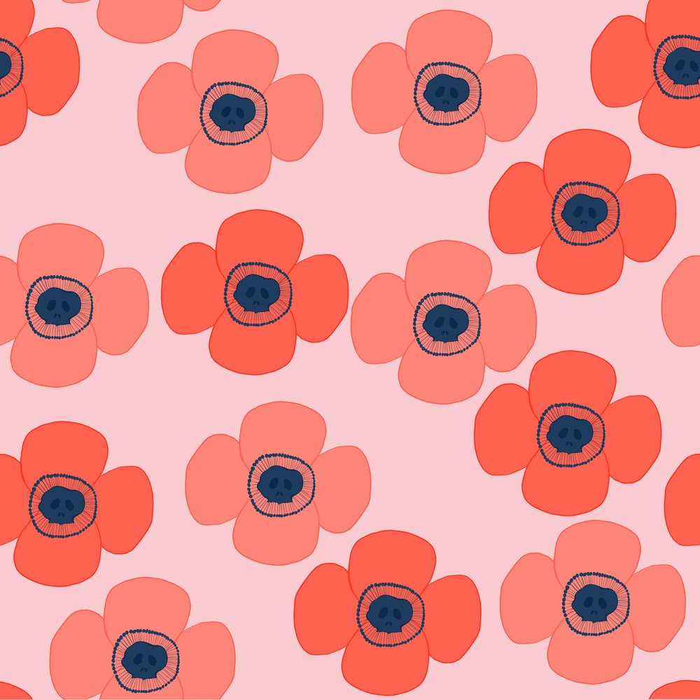 I love poppies, I love skulls, and I managed to put them together here.