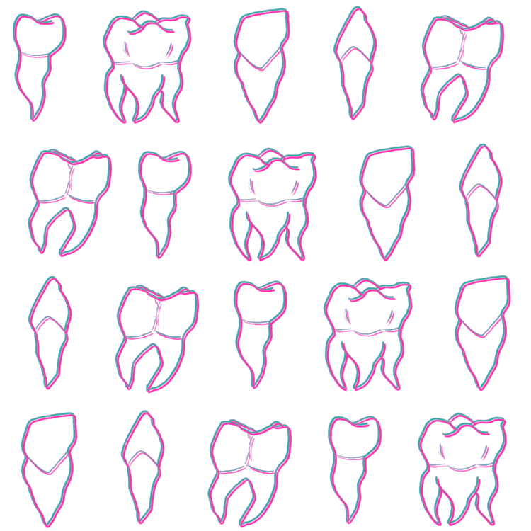 This design started as two random tooth doodles in my sketchbook when I was trying to come up with witchy illustration elements. I wasn't sure what I was going to do with them at first, but I'm happy where it ended up. Teeth make great elements for a grid design like this.