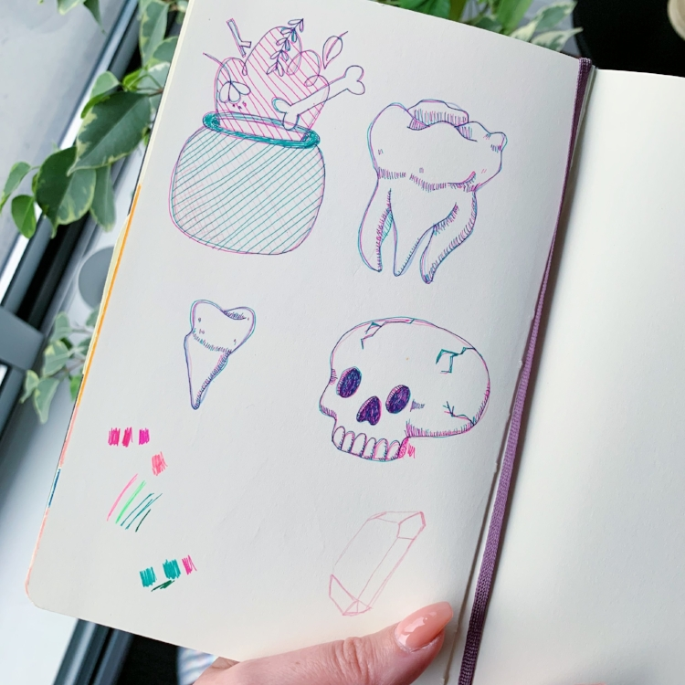 The tooth idea was born in my sketchbook.