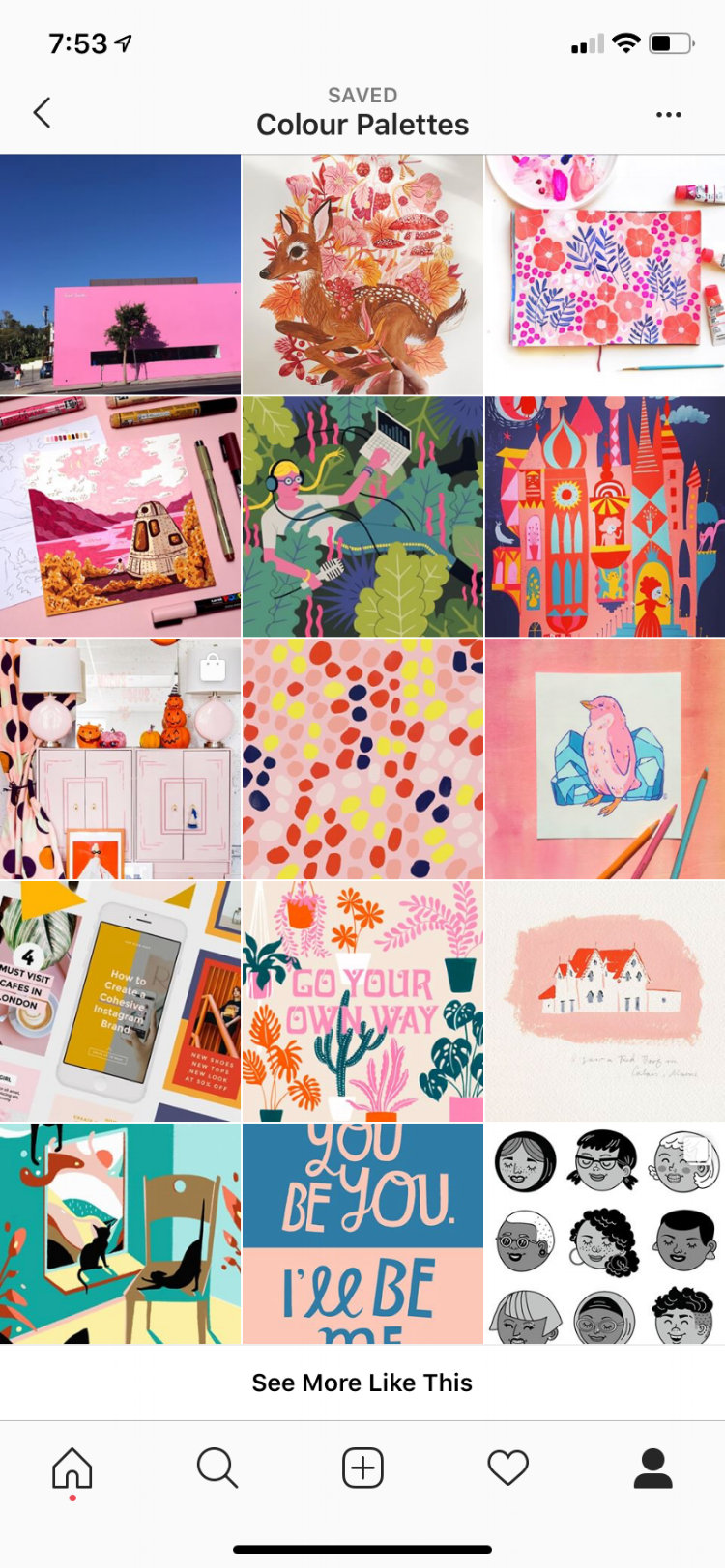 This is a screenshot of the Instagram posts I saved for colour palette inspiration. There are some really great artists here, you should check them all out! Image credits left to right, top to bottom:    @watsonpayne   ,    @oanabefort   ,    @melaniemilesdesign   ,    @alikiful   ,    @brwnpaperbag   ,    @miraparadies   ,    @spoonflower   ,    @pantone   ,    @cheru_illustration   ,    @latermedia   ,    @shopbando   ,    @emilyisabella   ,    @nicolo_canova   ,    @lisacongdon   ,    @salini.banana