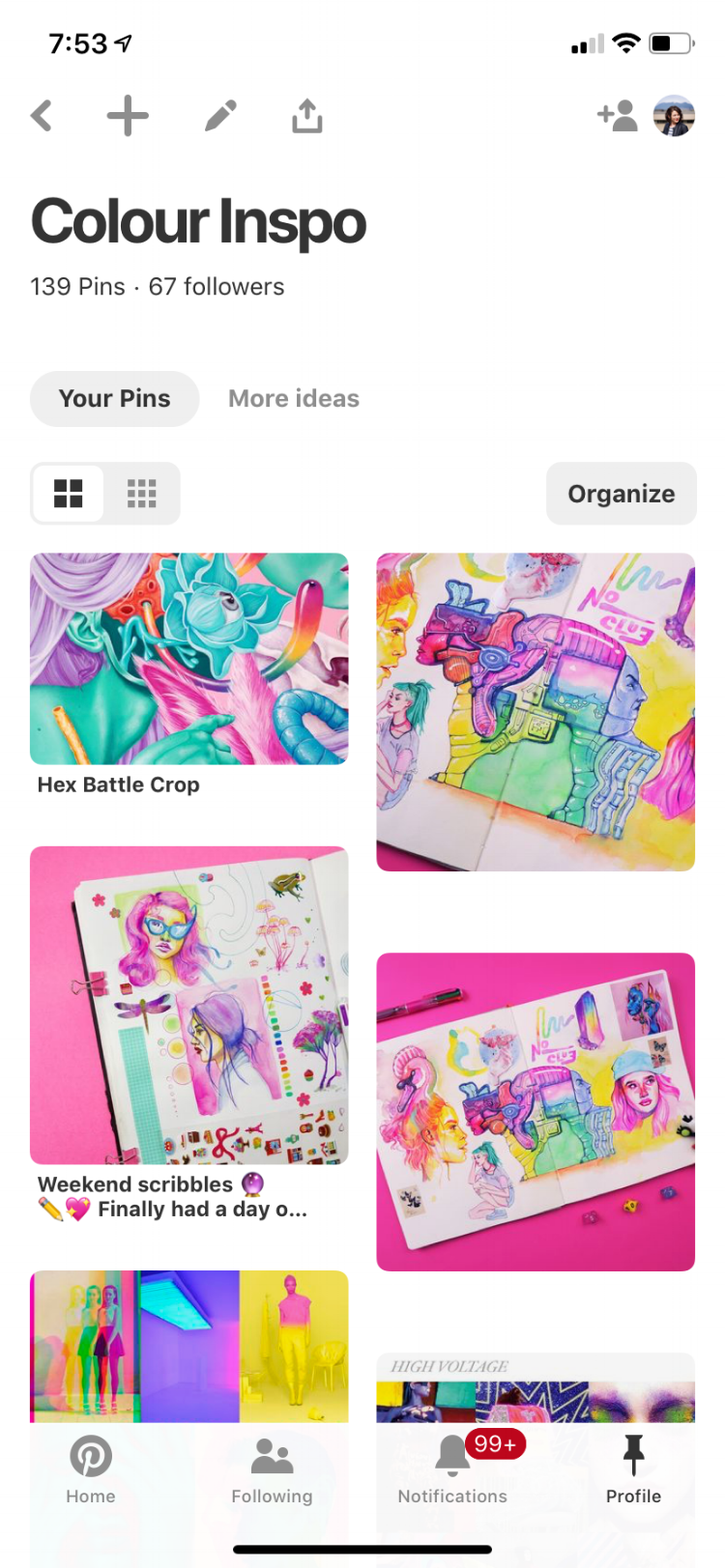 This is a screenshot of my own    colour inspo board on Pinterest   , featuring many works by    Zeke's Lunchbox    as I've been kind of obsessed with her work lately.