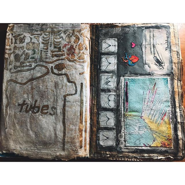 2005. Ancient. Pages from the book I'm finally working in again. . . . . . #art #artoftheday #artistsofinstagram #artistsoninstagram #mixedmedia #drawing #painting #paper #analog #illustration #color