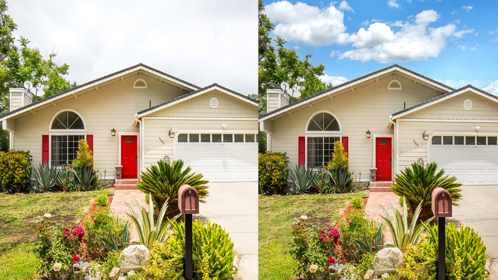 Outdoor Sky Replacement - Don't let a gloomy day ruin your photos. The Hako Foto Team can replace a cloudy day with a beautiful sunset or clear, blue skies to show potential buyers just how stunning the view can be.