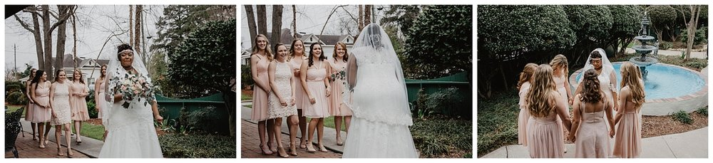 The bride, Anna, awaits her church mentor group before her wedding.  Anna chose to have her girls that she mentors from her church at her wedding in Benson, North Carolina, This image was captured by Wild Onyx Photography, a North Carolina Wedding Photographer.