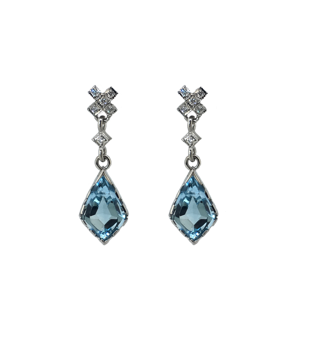 Topaz and Diamond Kiss Earrings