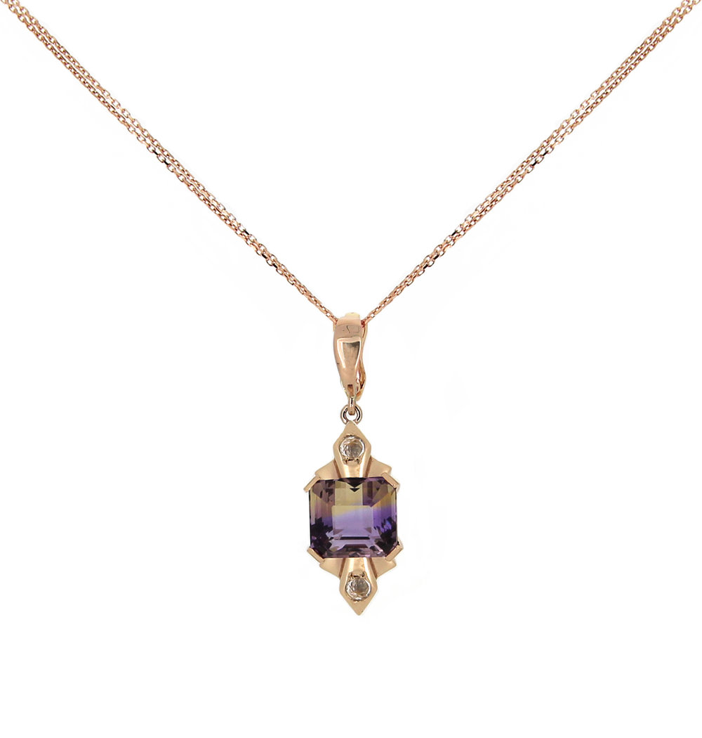 Ametrine, Rose Gold and White Sapphire Necklace.jpg