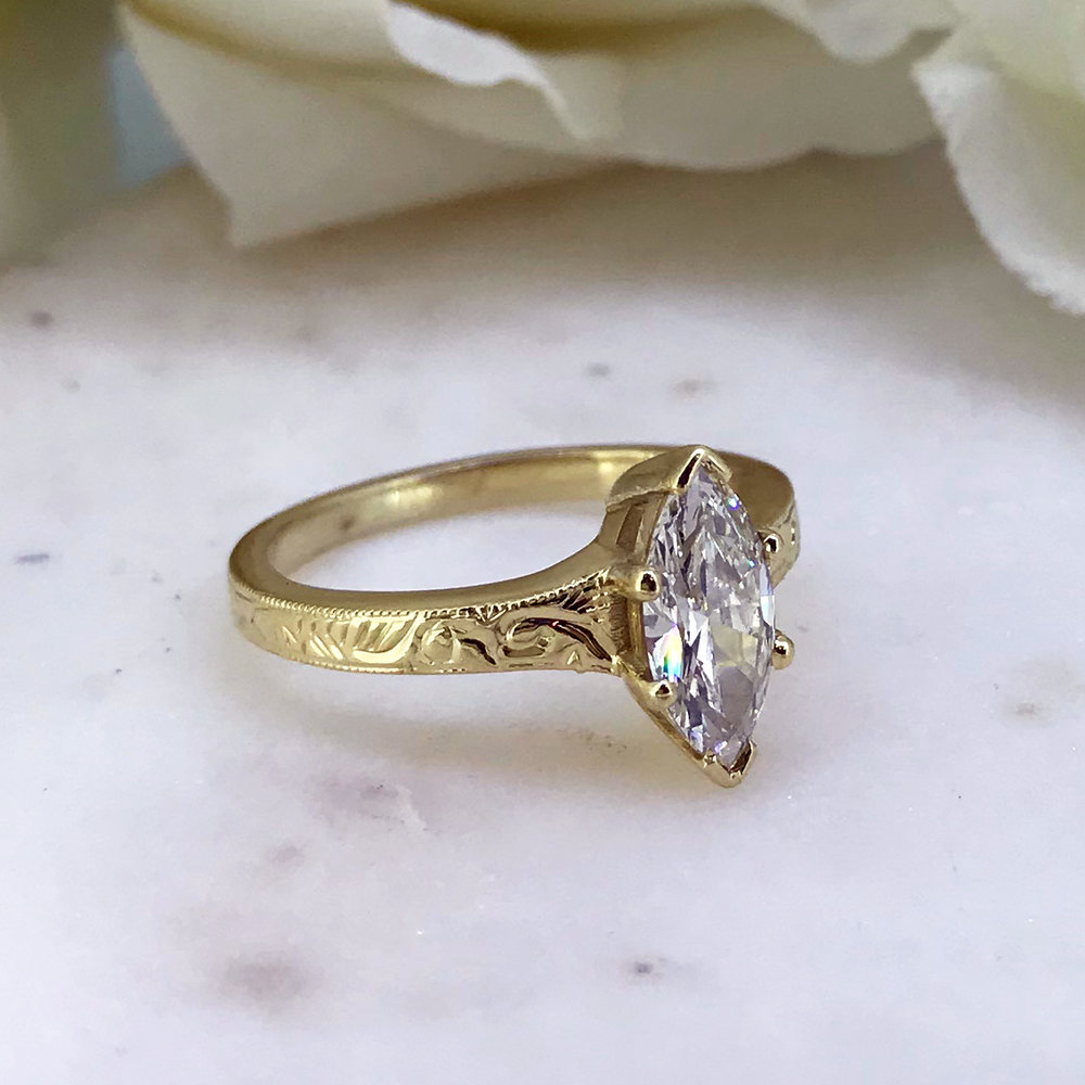 Marquise Diamond 18ct Gold Vintage style Ring by TORY and KO side view Instagram.jpg