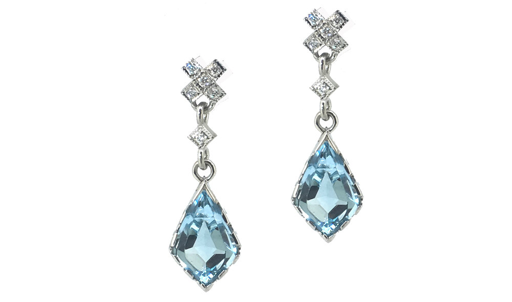 "Blue Topaz & Diamond ""Kiss"" Earrings"