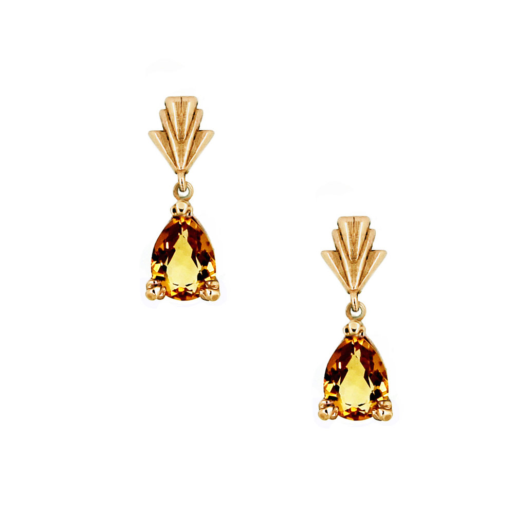 Art Deco Citrine Yellow Gold Earrings close up.jpg