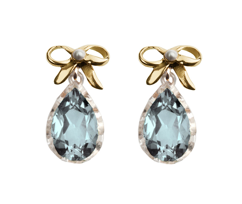 Pretty Collection Bow Earrings Blue Topaz Yellow Gold and Silver with Seed Pearl accents.jpg