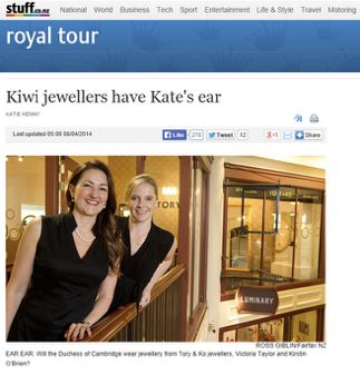 Sunday Star Times - While most fans will be looking out for the baby prince when the royals arrive tomorrow, two women will be hoping to glimpse the Duchess of Cambridge's ears.Wellington based TORY & KO. Jewellers, founded by Victoria Taylor and business partner Kirstin O'Brien, have been asked to supply four pieces of jewellery for the Duchess of Cambridge to wear on the royal tour which starts tomorrow.