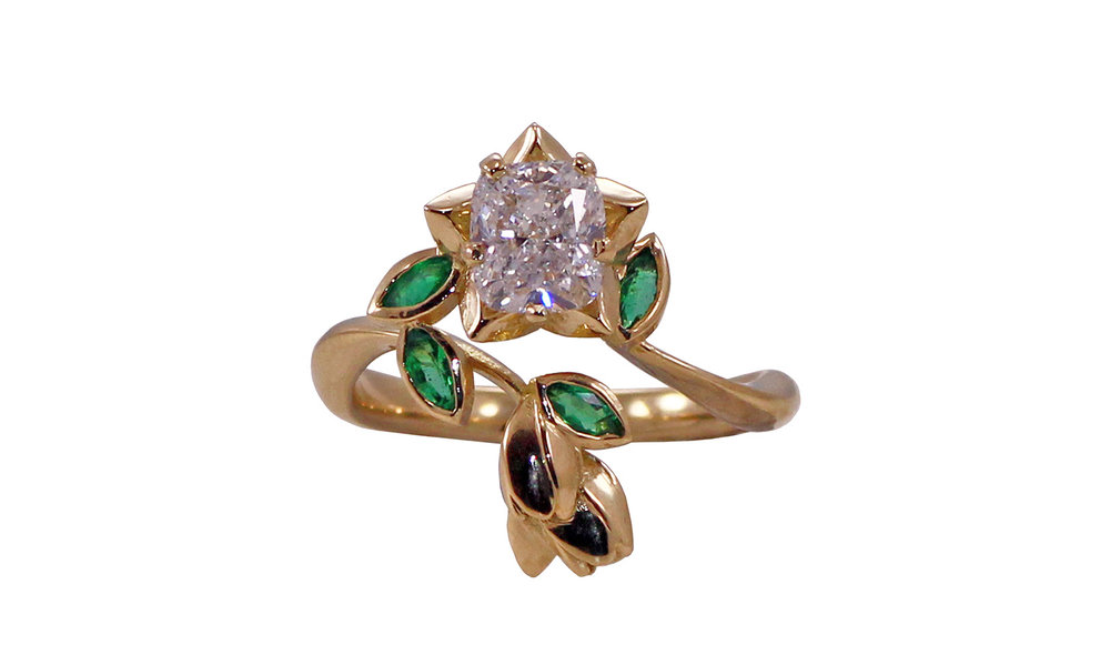 Cushion Cut Diamond Flower Ring with Emeralds