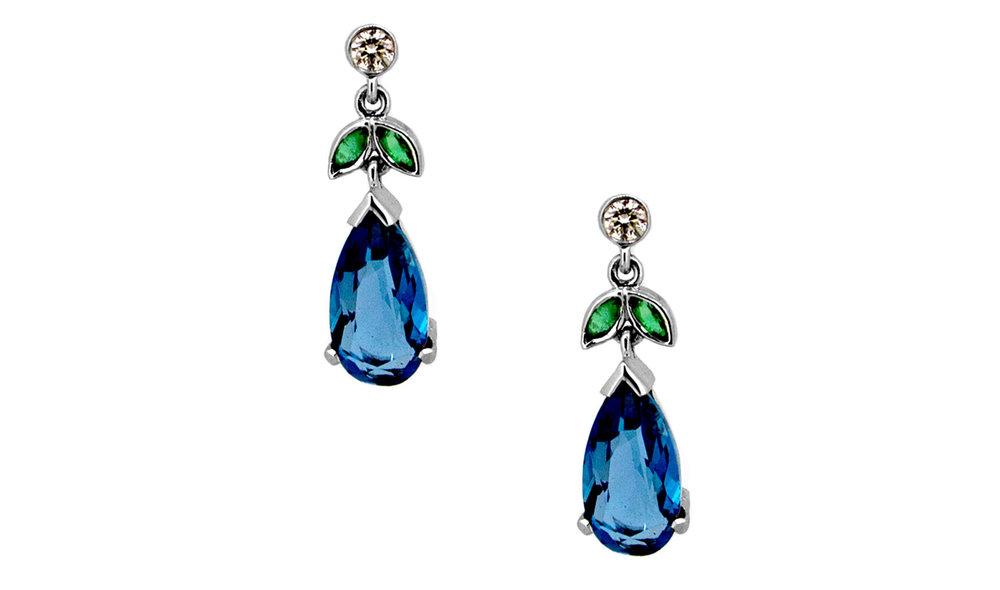 Blue Topaz and Green Aquamarine Earrings