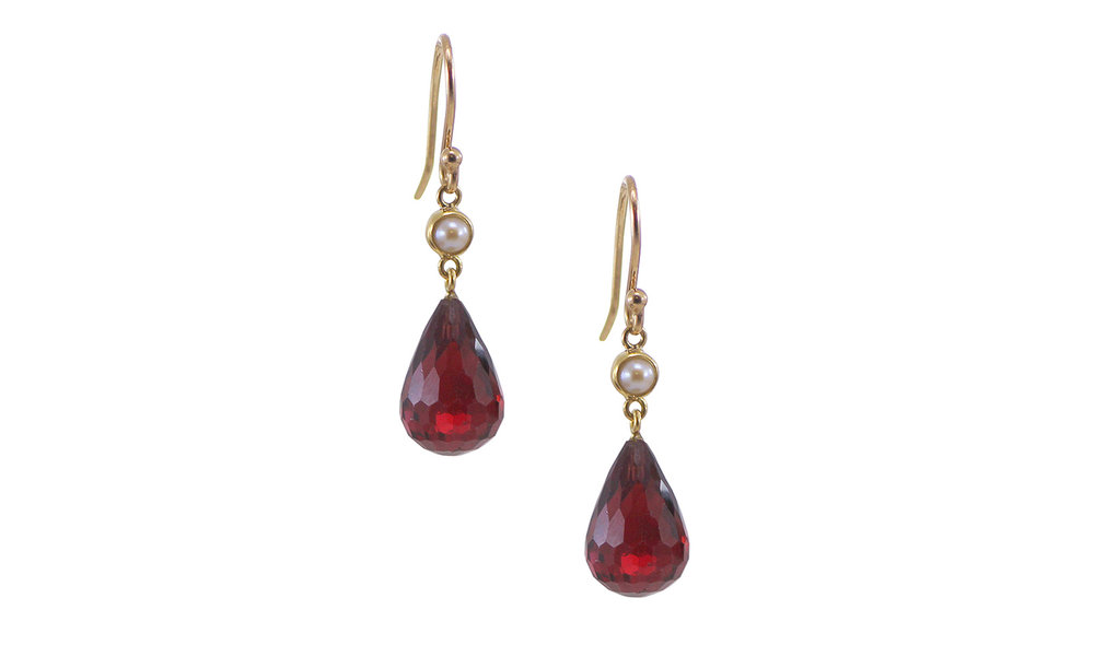 Garnet Briolette and Pearl Drop Earrings