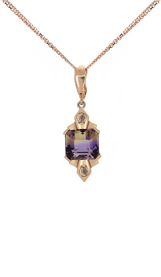 Ametrine and White Sapphire Necklace in Rose Gold