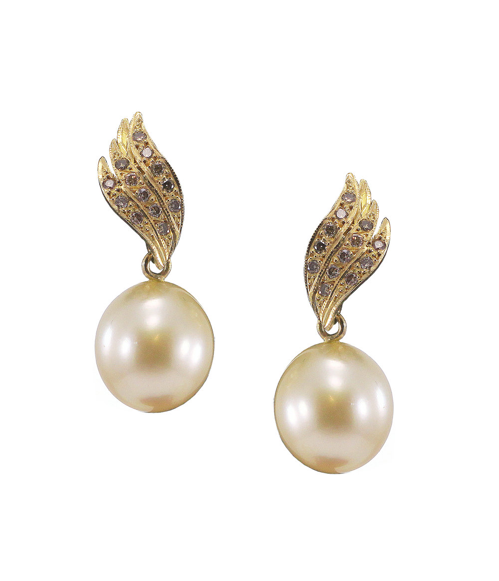 Broome Pearl & Champagne Diamond Earrings