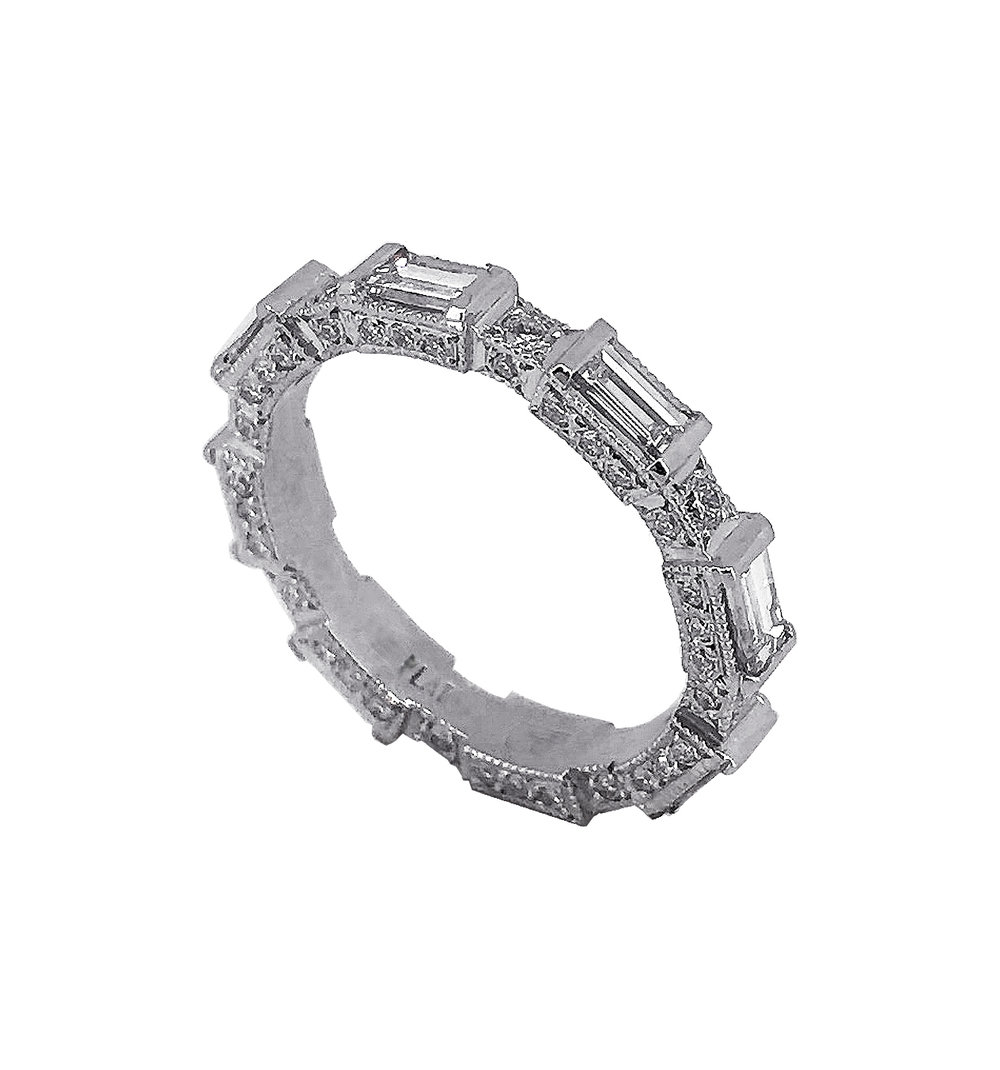 Bespoke Diamond Baguette Wedding Ring in Platinum