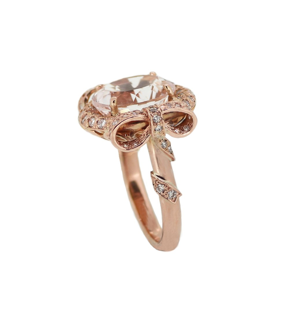 Bespoke Morganite & Diamond Bow Ring