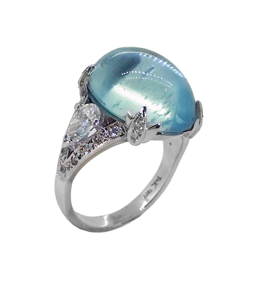 Bespoke Cabochon Aquamarine & Pear-shaped Diamond Ring