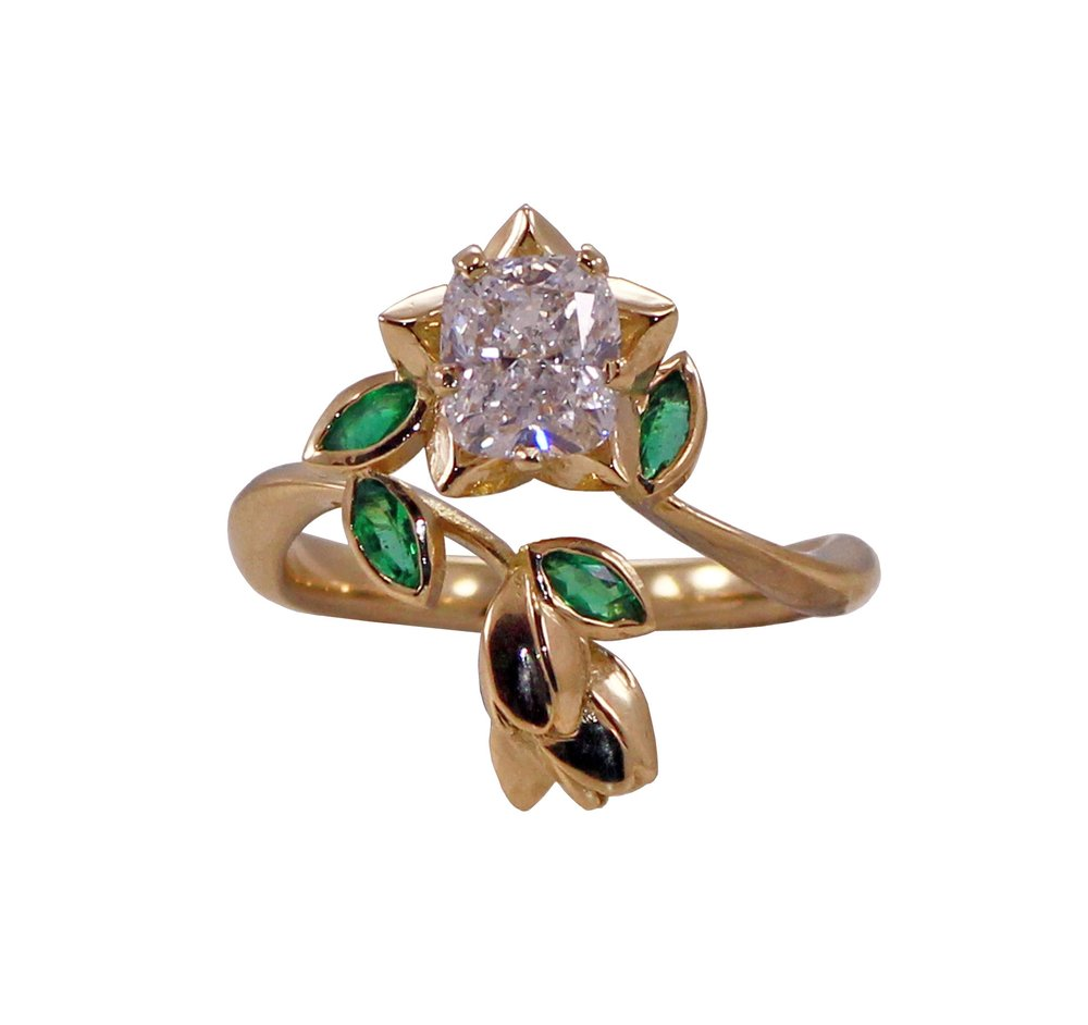 Bespoke Cushion Cut Diamond & Emerald Ring