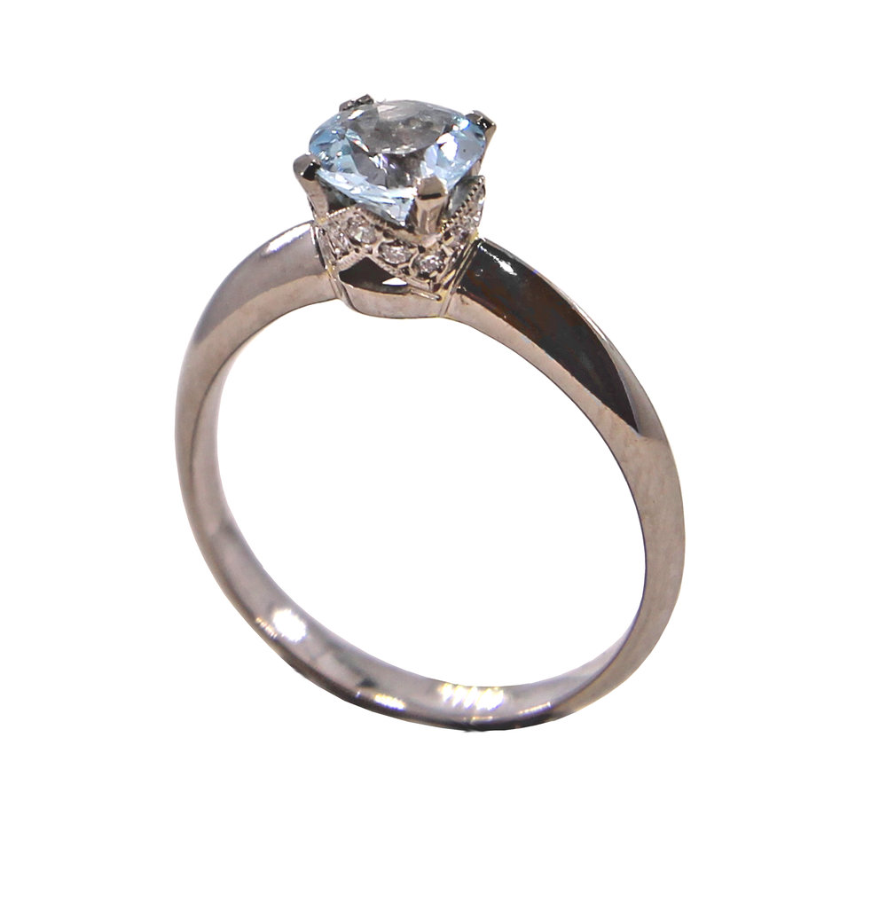 "Aquamarine Solitaire with Diamond ""Crown"" Setting"