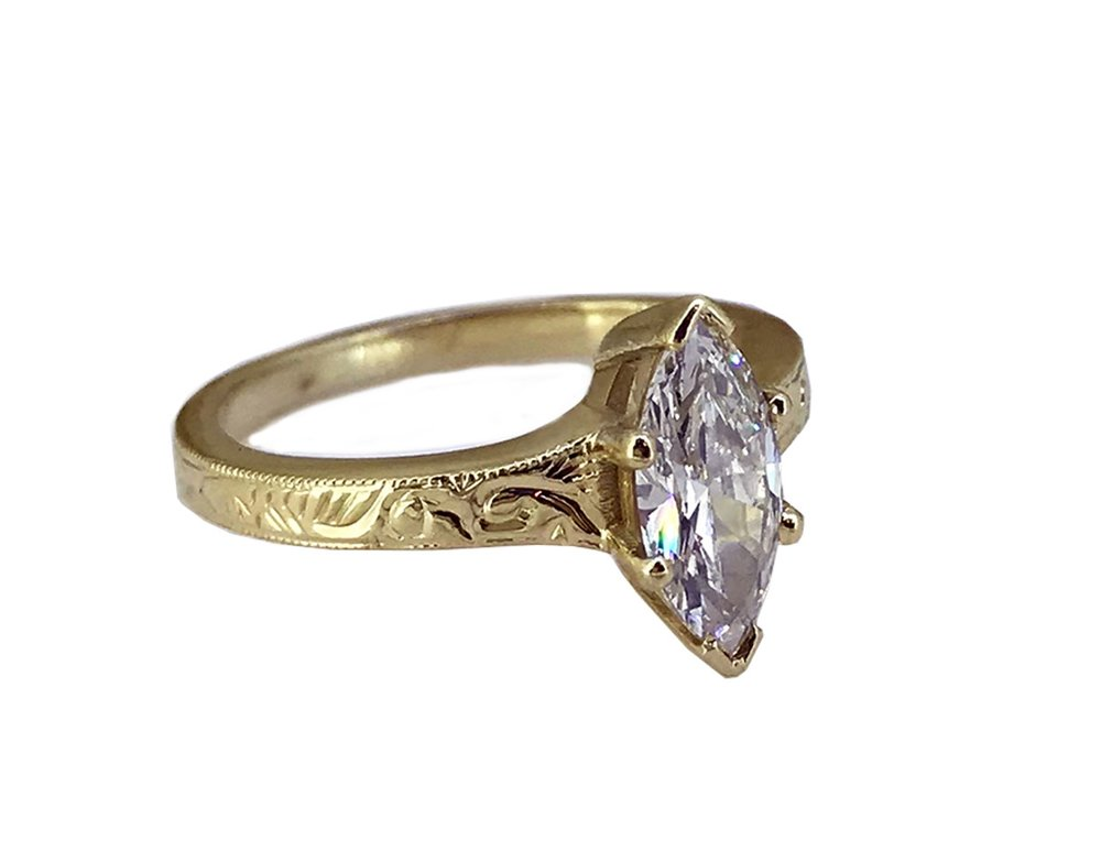 Bespoke Marquise Diamond & Gold Ring