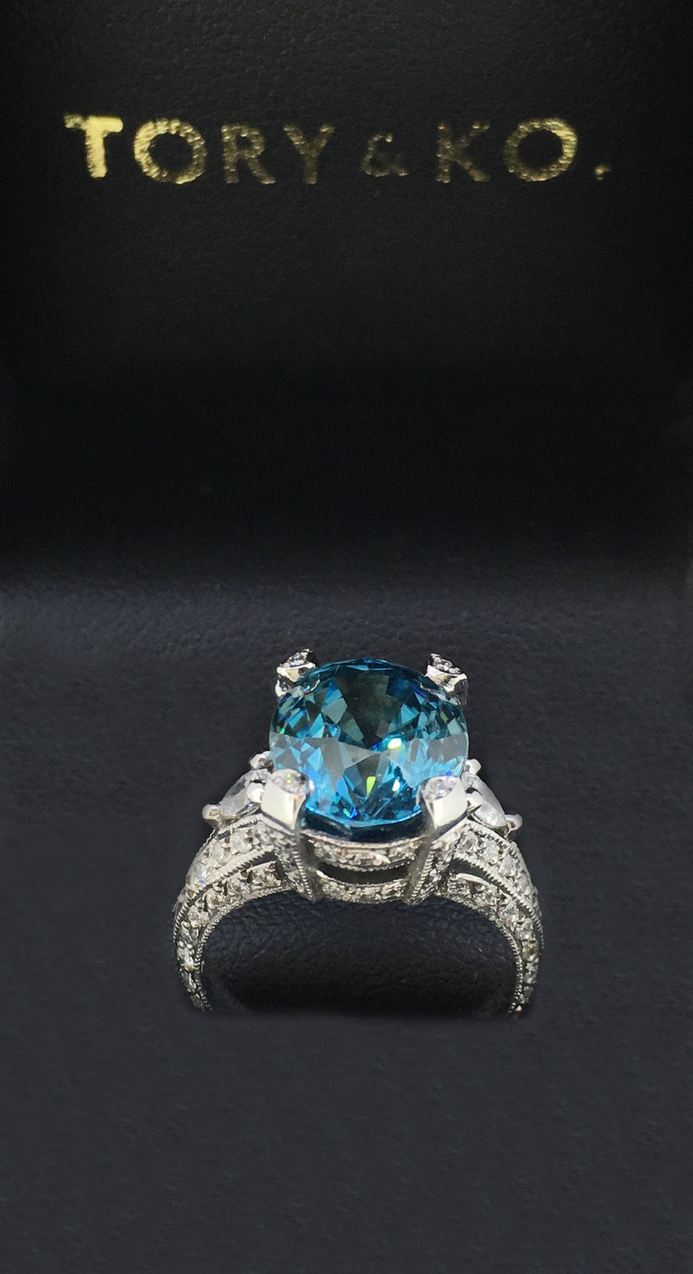 Bespoke Blue Zircon & Diamond Ring
