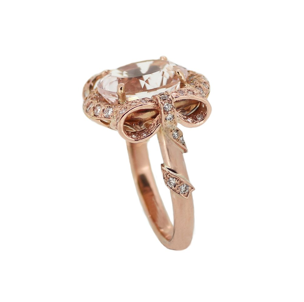 Morganite, Diamond & Rose Gold Bow Ring.jpg